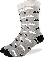 Good Luck Sock Men's Black & Grey Mustache Crew Socks 7-12