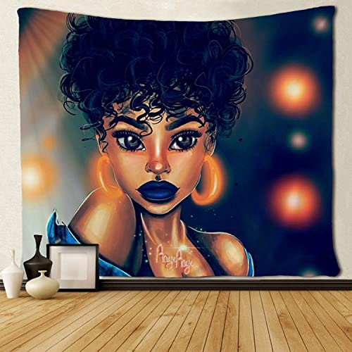 SARA NELL Tapestry Afro Girl African American Girl Bling Earrings Tapestries Hippie Art Wall Hanging Throw Tablecloth 60X90 Inches for Bedroom Living Room Dorm Room