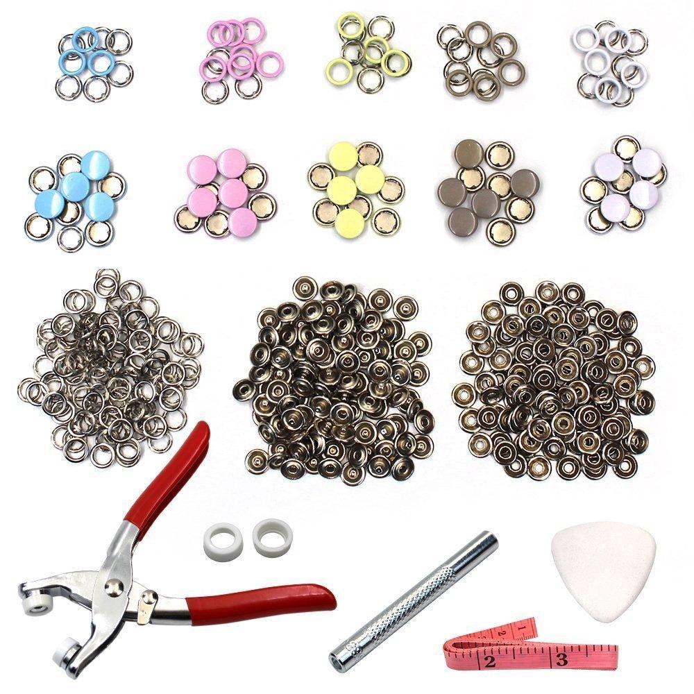 110 set Snap Setter mano pinze strumento di impostazione, anello di metallo pulsante chiusura a bottoni automatici cucito artigianale Snap pinze Craft Tool 9.5 mm MMBOX