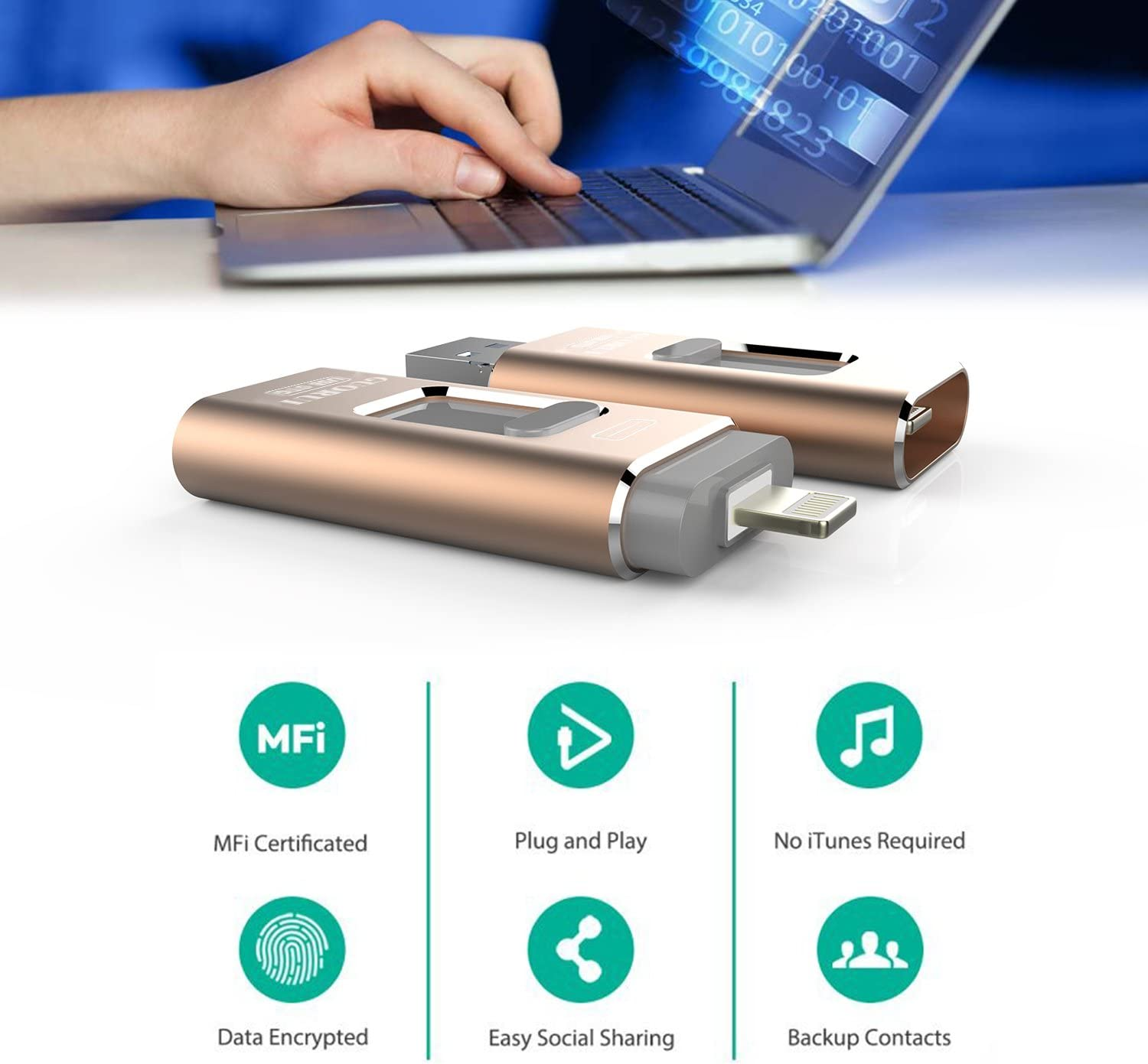 USB Flash Drive 64GB for iPhone Photo Stick Backup iPhone Memory Stick External Storage Thumb Drive for iPhone 11 Pro X XR XS MAX 6 7 8 Plus iPad Pro PC Android Password Touch ID Protected Flash Gold