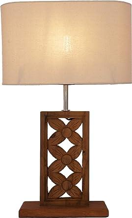Guru-Shop Lámpara de Mesa/Lámpara de Mesa con Motivo de Flor Balinesa Tallada, Madera de Teca - Modelo Mayana, Bambú, 59x34x15 cm, Lámparas de Mesa de Materiales Naturales: Amazon.es: Iluminación