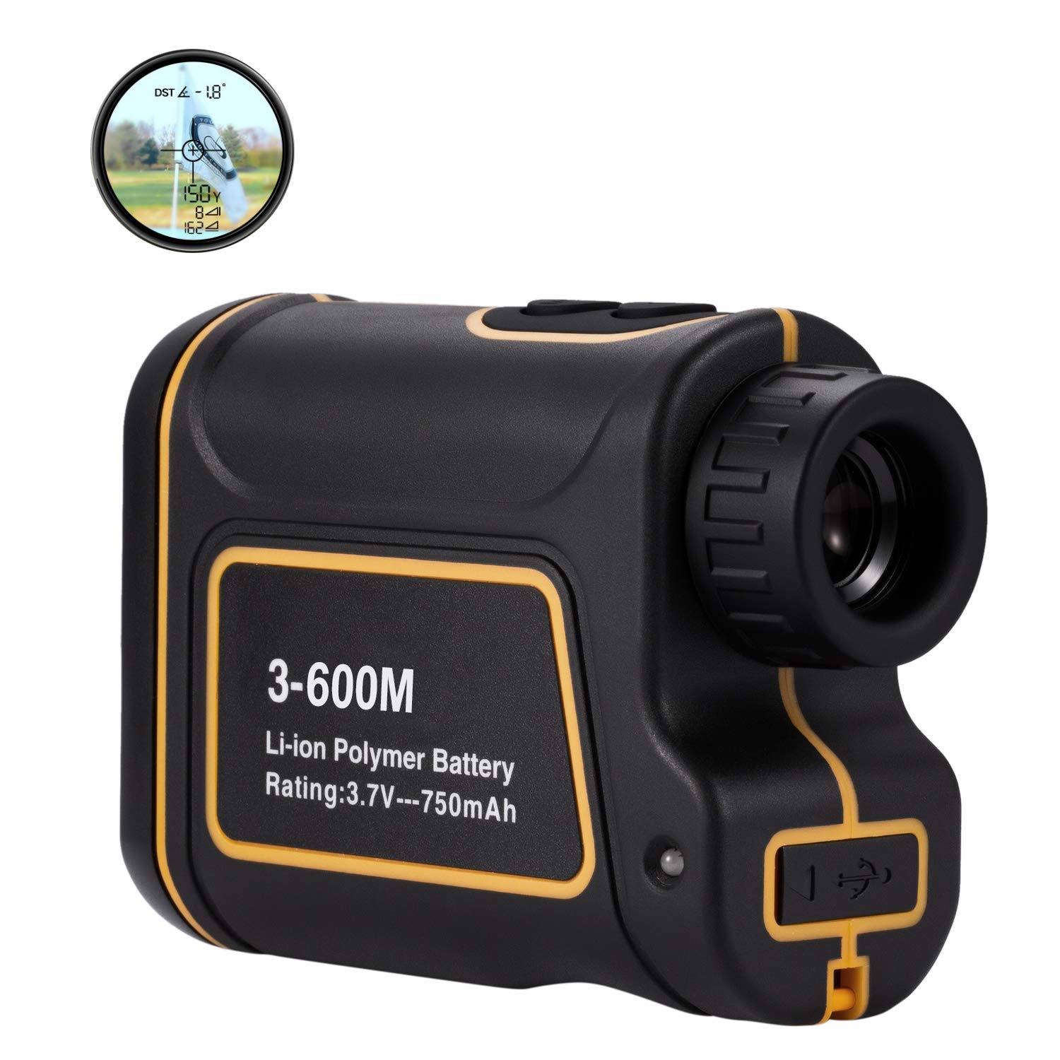 AbdTech Golf Range Finder 656Yards, USB Rechargeable Rangefinder with Flag Pole Lock Range Speed Scan Mode for Hunting Golf Course Hiking Climbing, Compact Laser Rangefinder Easy to Use for Outdoor by AbdTech