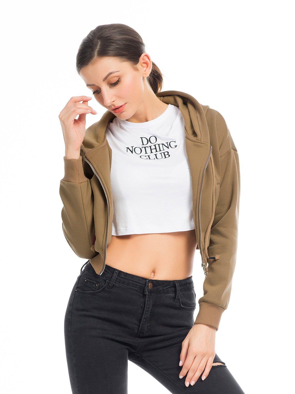 PERSUN Women's Loose Solid Zip Up Sweatshirt Drawstring Fleece Hoodie,Brown,XL by PERSUN (Image #3)