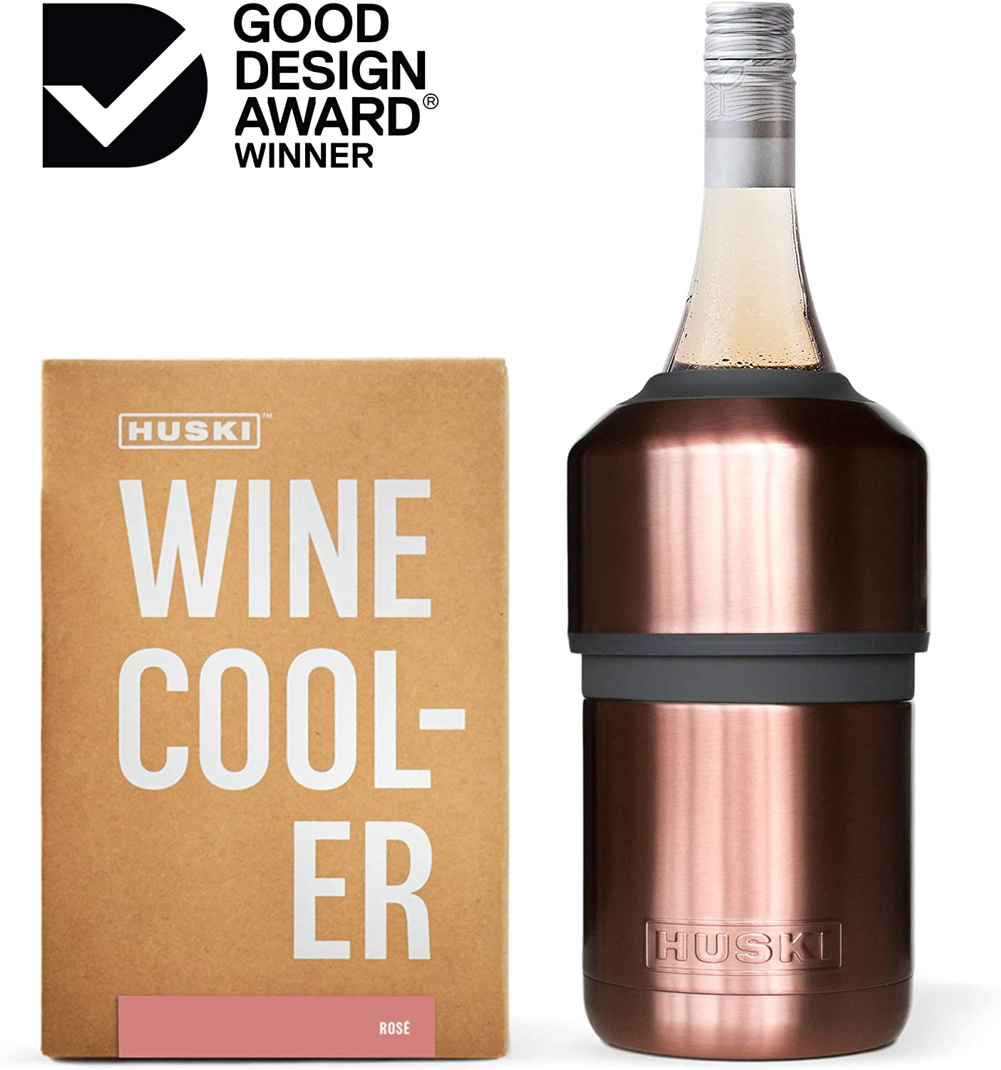 Huski Wine Cooler | Premium Iceless Wine Chiller | Keeps Wine or Champagne Bottle Cold up to 6 Hours | Award Winning Design | New Wine Accessory | Perfect Gift for Wine Lovers (Rosé)