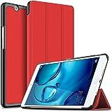 Huawei MediaPad M3 8.4 ケース 【KuGi】 スタンド機能付き Huawei MediaPad M3 8.4 カバー 三つ折型 薄型 軽量 傷つけ防止 スタンドカバー 内蔵マグネット開閉式 PUレザー Huawei MediaPad M3 8.4 スマートケース レッド