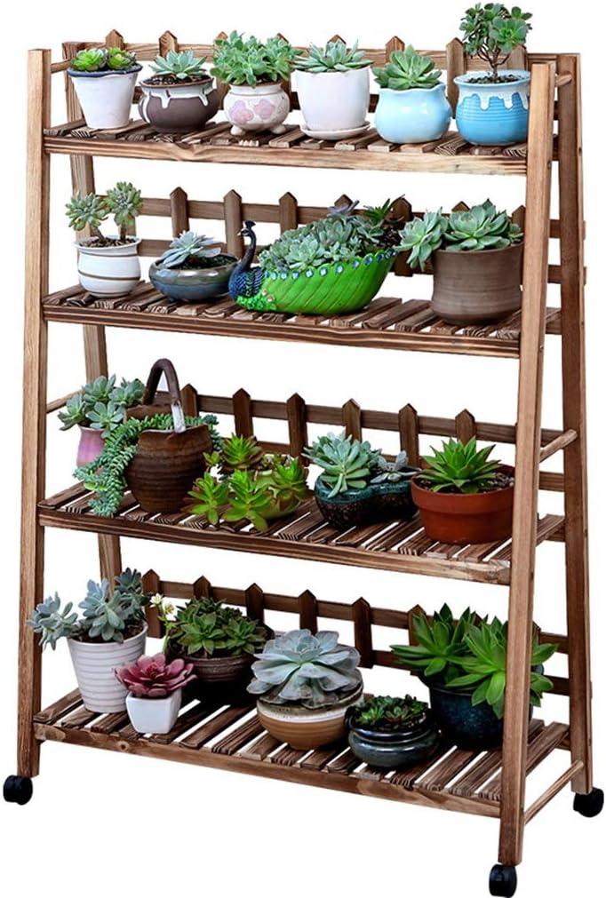 AO - Escalera de 4 Niveles de Madera para Plantas con Ruedas | Estantes para Plantas, múltiples Capas, 34,6 x 11,8 x 45,3 Pulgadas: Amazon.es: Jardín