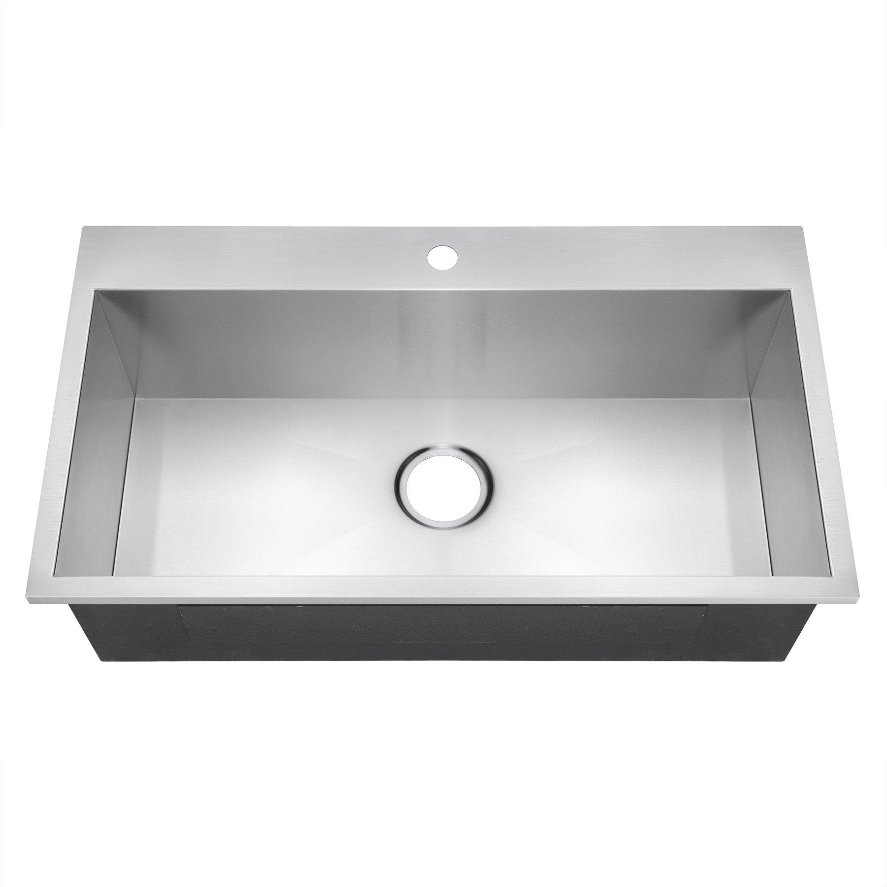 Golden Vantage 30'' x 18'' x 9'' 18 Gauge Handmade Stainless Steel Topmount Drop-in Single Basin Kitchen Sink by Golden Vantage