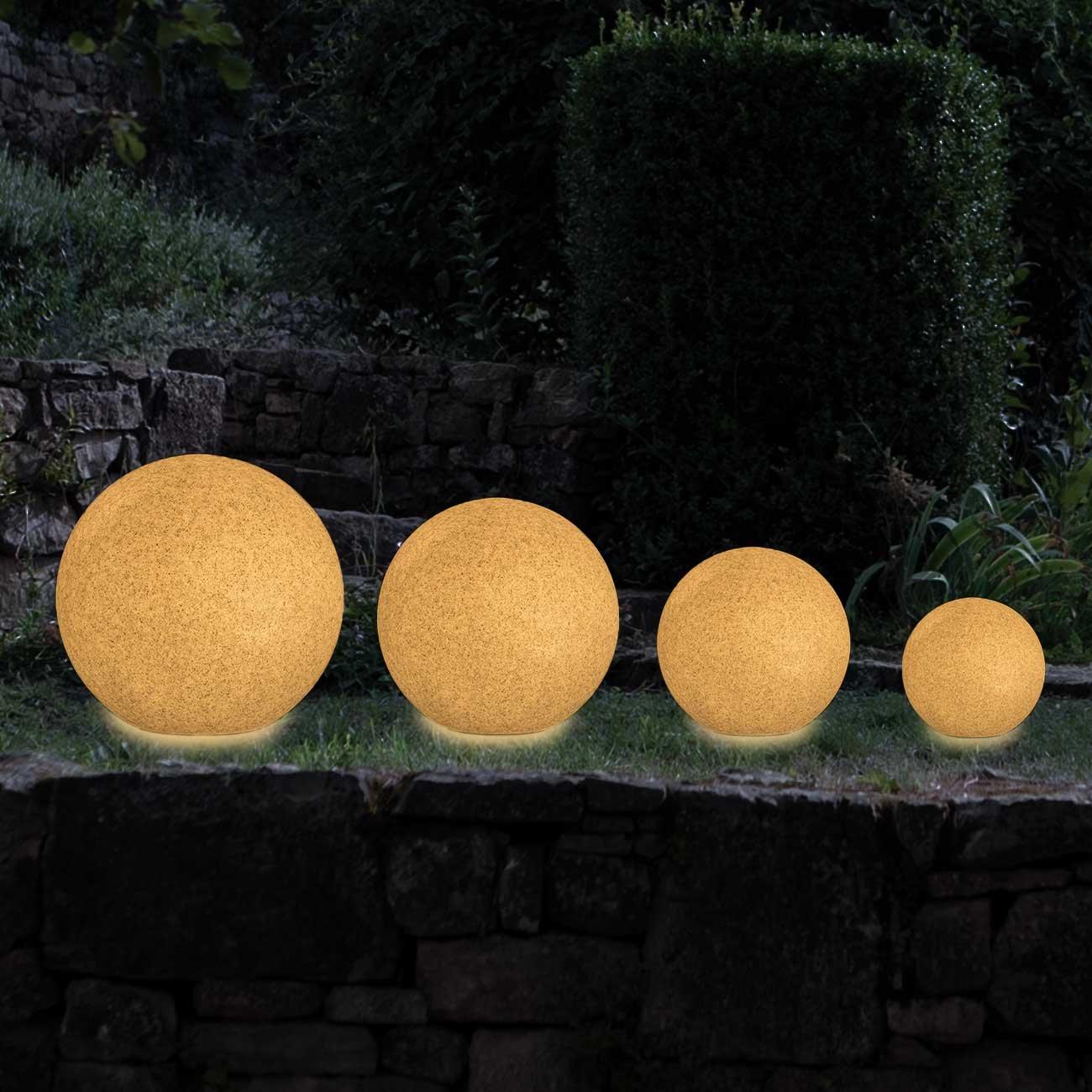 /Ø 20 cm Gris MAXCRAFT Lampe de Jardin Ronde Culot E27 Boule Lampe IP65 Ext/érieur