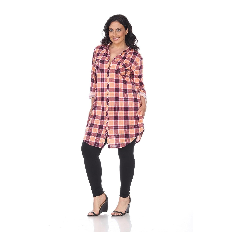 d70c69b1c7d Amazon.com  White Mark Women s Plus Size Piper Plaid Tunic Orange Purple 1X   Clothing
