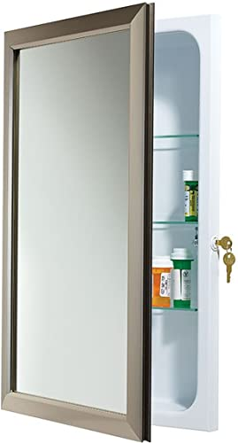 Jensen 625N244SNCLX Locking Satin Nickel Frame Medicine Cabinet
