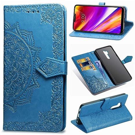Kihying Cuero Funda para LG G7 ThinQ / G710 Funda Cáscara Tapa del tirón Billetera Soporte y Ranura para Tarjeta (Azul - SD08)