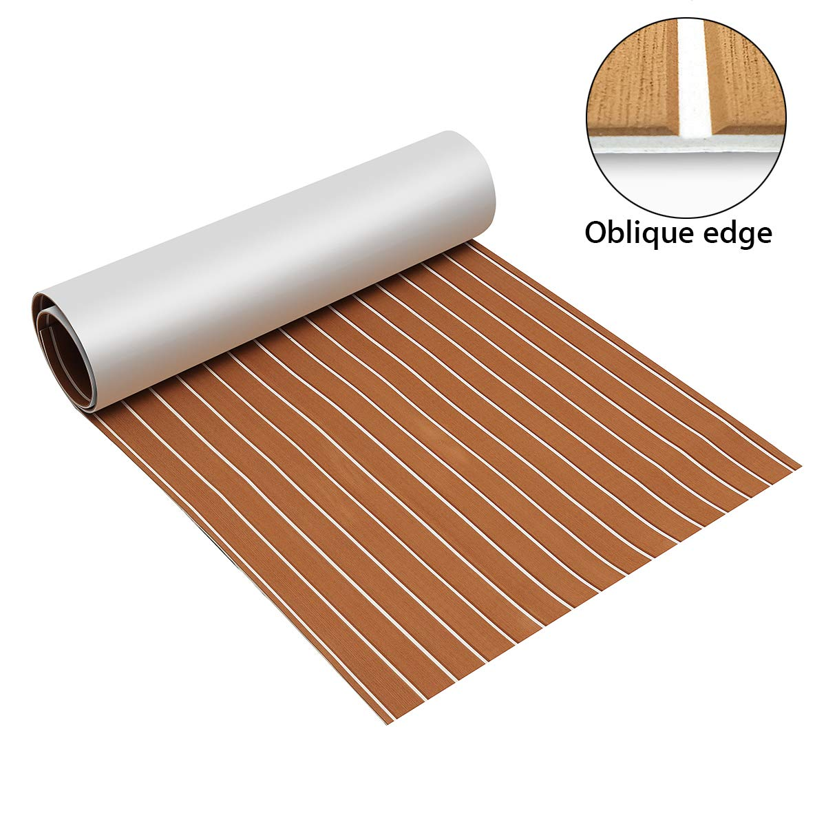 Zeeos EVA Foam Teak Decking Floor Sheet,Non-Skid-Self-Adhesive Flooring Synthetic Deck Marine Yacht RV Boat Flooring Mats,Teak with White line(94.5''x36'') by Zeeos