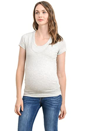 6d96c33cfcc LaClef Women s Doubled Layered Scoop Neck Ruched Maternity Nursing  Breastfeeding Top (Small