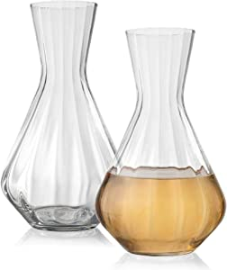 Crystal 2 Qt. Wine Decanter and Carafe, Set of 2 – Mouthblown Optic Glass Tea & Water Pitcher Beverage Dispenser – Lead-Free, Dishwasher-Safe Bar Supplies & Infuser by Lumi & Numi, 6.5x11.4 In.