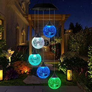 FlyCloud Color Changing Solar Power Wind Chime, Globe Wind Chimes Outdoor Wind Mobile Portable Waterproof Outdoor Decorative Romantic Wind Bell Light for Patio Yard Garden Home