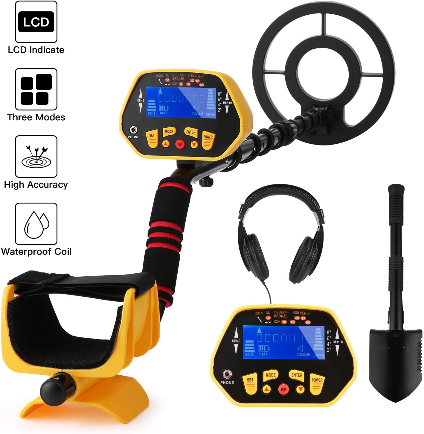 Noeler Metal Detector,High Accuracy Detector with Pinpoint Function,Professional Waterproof Metal Detectors for Adults and Kids Size 2 with Headphones