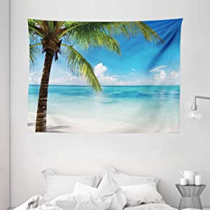 """Ambesonne Ocean Tapestry, Exotic Beach Water and Palm Tree by The Shore with Clear Sky Landscape Image, Wide Wall Hanging for Bedroom Living Room Dorm, 80"""" X 60"""", Green Turquoise"""