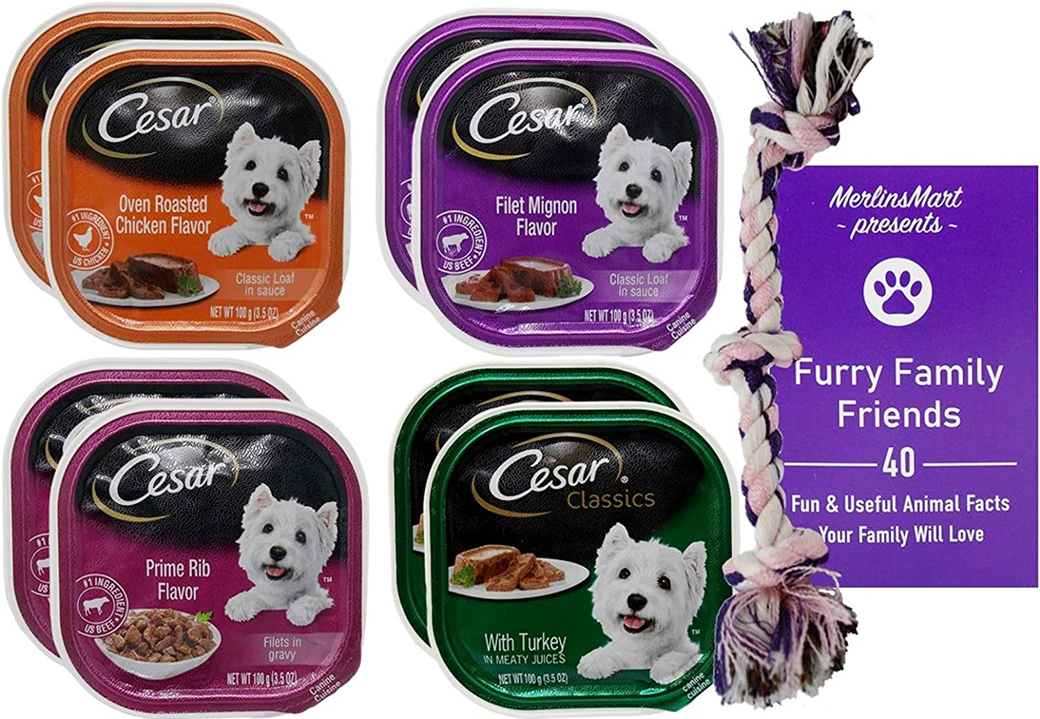 Cesar Dog Food 4 Flavor 8 Can Variety (2) Each: Oven Roasted Chicken, Filet Mignon, Prime Rib, Turkey (3.5 Ounces) - Plus Rope Toy and Fun Facts Booklet Bundle