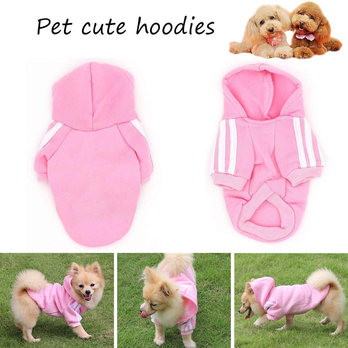 QiChengLYS Dog Felpe con Cappuccio Abbigliamento Maglietta Sportiva per Cani XS, 2 Pezzi Rosa Pet Puppy Cat Cute Cotton Warm Coat Maglione
