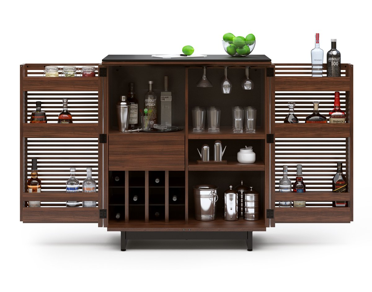 Amazoncom Bdi Corridor Compact Bar Chocolate Stained Walnut Kitchen U0026  Dining. Bar Cartliquor Cabinet Vintage Industrial Urbanmodern Design  Reclaimed ...
