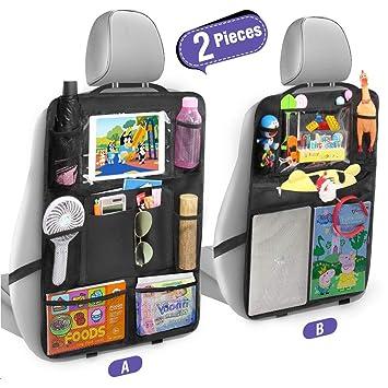Tsumbay Auto Rückenlehnenschutz 2 Stück Trittschutz Mit Rücksitz Organizer Rücksitzschoner Organizer Mit Vielen Sack Für Autositz Durchsichtigem Ipad Tablet Halter Baby