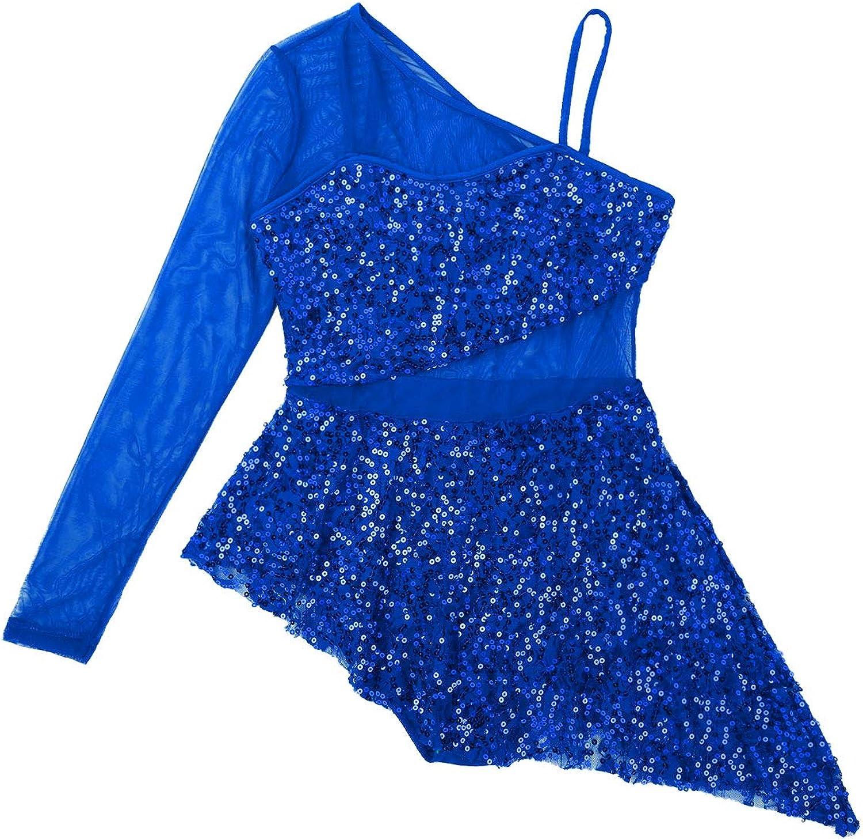 CHICTRY Vestido de Danza Baile para Mujer Encaje Floral Maillot de Baile Latino Lentejuelas Body de Patinaje sobre Hielo Plisada Asim/étrica