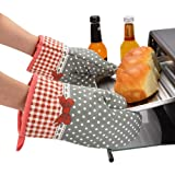 MiCoolker(TM) 1 Pair Cute Bow Bowknot Polka Dot Grid Oven Mitt Cooking Mitts Pot Holder Potholder Heat Resistant Mitt Insulated Glove