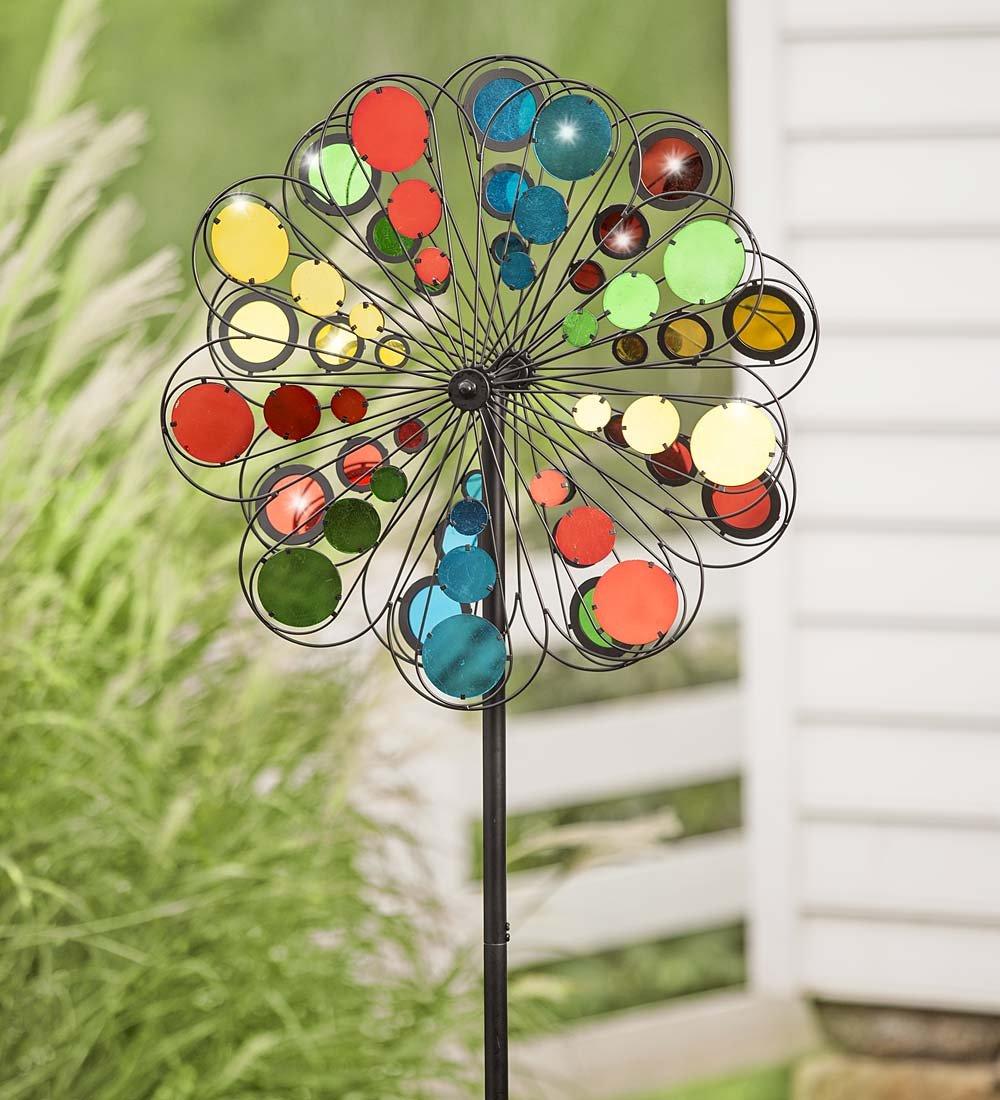 Multicolor Mirror Outdoor Garden Metal Wind Spinner 24 dia. x 10.25 D x 75 H
