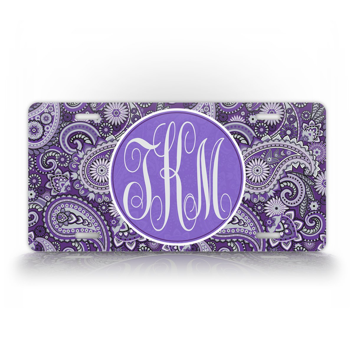 SignsAndTagsOnline Custom Monogrammed Paisley License Plate Personalized Auto Tag Plate Sign Pink RED Blue or Purple