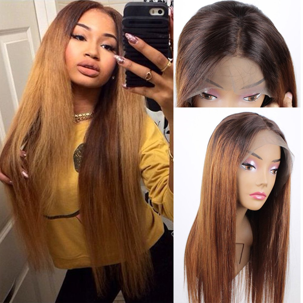 Human Hair Straight Lace Front Wigs Brown Root #4/30 Ombre Human Hair Wig 100% 71J2BW11tGWL