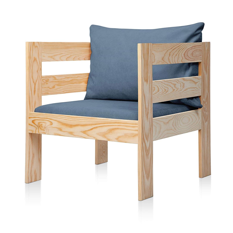 SUENOSZZZ - Sofa Jardin de Madera de Pino Color Natural, MEDITERRANEO Mod. sillón, Sillon cojín Tela Color Azul. Muebles Jardin Exterior. Silla para ...