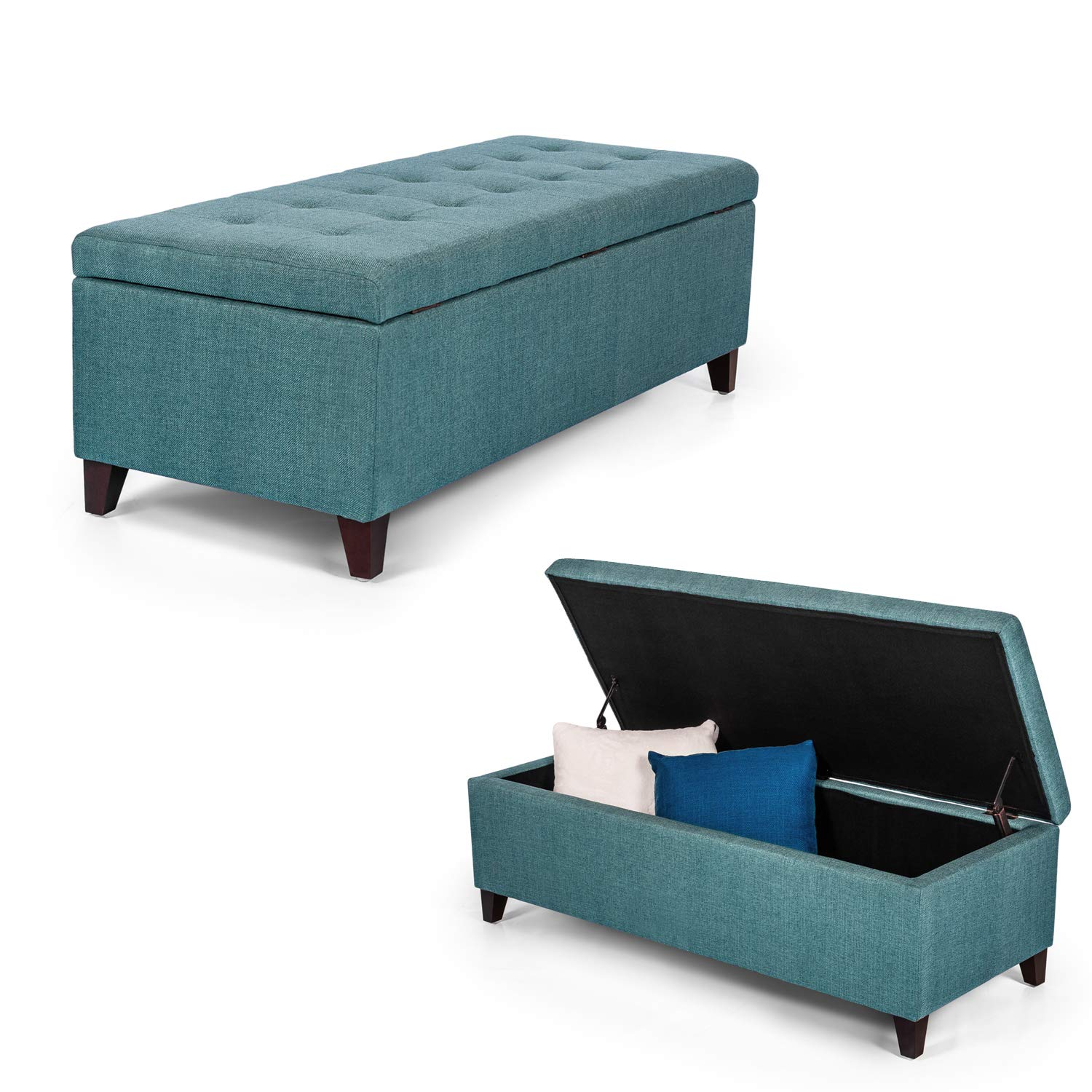Decent Home Ottoman Bench with Storage - Rectangular Couch/Sofa- 48 Inches Long (Blue) (cadetblue) by Decent Home