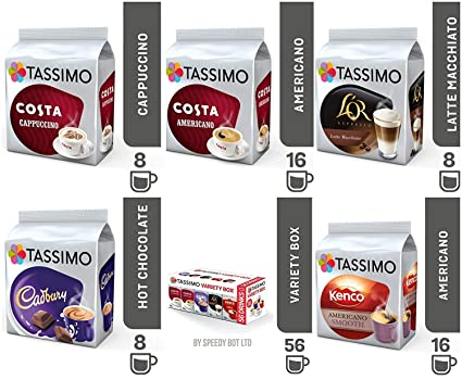 Tassimo Coffee Variety Bundle Costa Cappuccinoamericano Cadbury Hot Choco Lor Latte Macchiatolor Caramel Kenco Americano Pods Pack Of 5 56