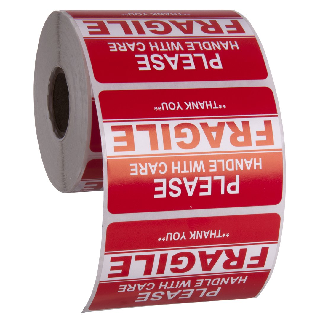 Kenco 3'' X 2'' Fragile Handle with Care Warning Stickers for Shipping and Packing - 500 Permanent Adhesive Labels Per Roll (1 PACK)