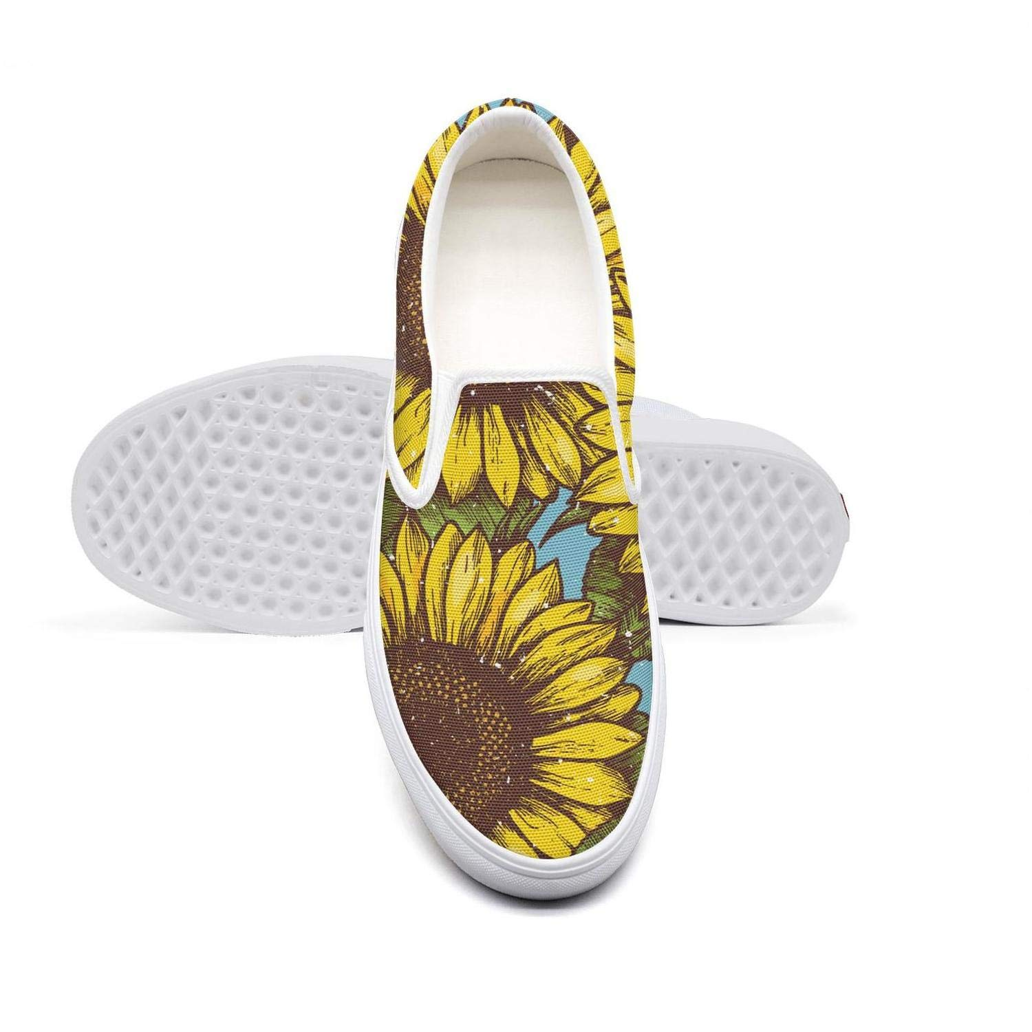 LOKIJM Sun Flowers with Polka dots Pattern Tennis Shoes for Women Fashion Non-Slip Running Shoes