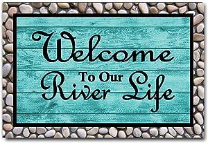 "DayliPillow Rustic Old Barn Wood Doormat Welcome to Our River Life Door Mat Entrance Rug Floor Mat Balcony Mat Funny Home Decor Indoor Mat 23.6"" x 15.7"""