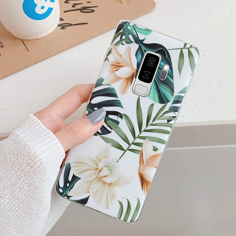 Kompatibel mit Samsung Galaxy S9 Plus H/ülle,Handyh/ülle Galaxy S9 Plus Case Blumen Bl/ätter Ultrad/ünn TPU Silikon H/ülle Schutzh/ülle Crystal Clear Silikon Bumper R/ückschale Case Cover,Grau