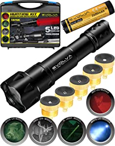 Zoomable Hunting Flashlight Illuminator with Red Green White IR Laser and IR850 Light LED Lamps Remote Pressure Switch Hunting Kit for Hog Coyote and Varmint Hunting