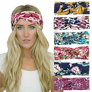DRESHOW 6 Pack Yoga Sports Headbands for Women Elastic Non-Slip Headbands Running Workout Hair Bands