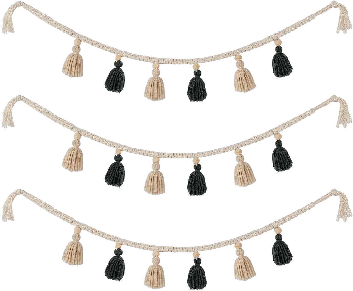 WILLBOND 3 Pieces Macrame Woven Tassel Garland Cotton Tassel Garland Backdrop Decorative Wall Hangings for Boho Home Nursery Room Decor (White and Green)