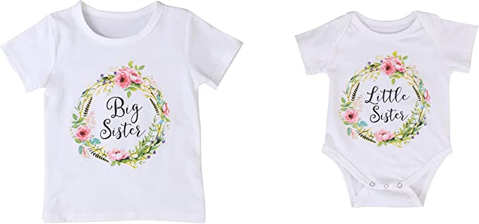 qidushop Little Sister Lil Sis Baby Sister Baby Bodysuit One Piece Cloth