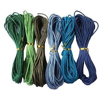 F Fityle 2 Piezas Cuerda Hilo de Algod/ón Encerado Cord/ón de Brazalete para Collar Pulsera Abalorios de Joya Bricolaje