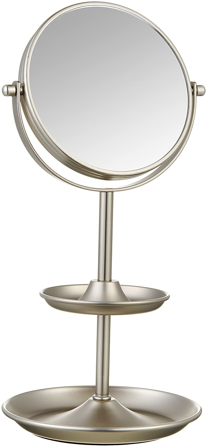 """AmazonBasics Tabletop 5"""" Vanity Mirror with 1x/5x Magnfication and Accessory Shelves - Nickel"""