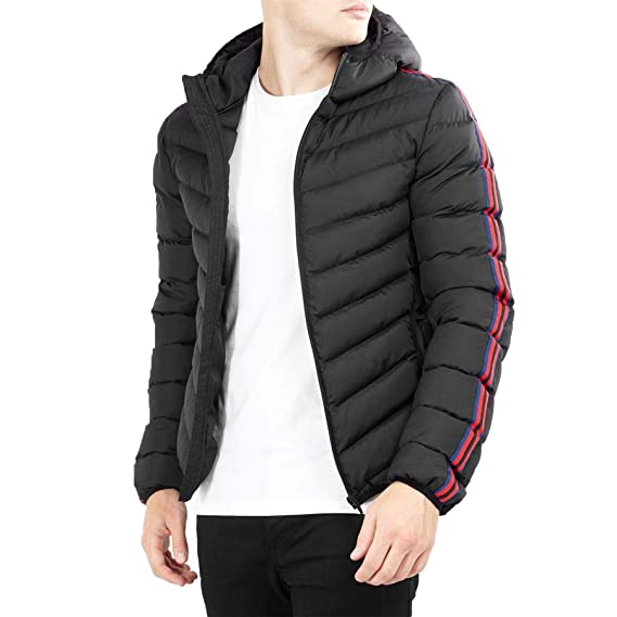 444d12936 Brave Soul Mens Taped Stripe Hooded Padded Quilted Puffer Jacket ...