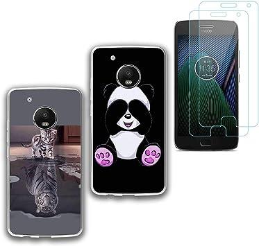 jrester 2 X Funda Motorola Moto G5 Plus,Gato Tigre + Panda Suavee Silicona Smartphone Cascara Protectora para Motorola Moto G5 Plus (5,2