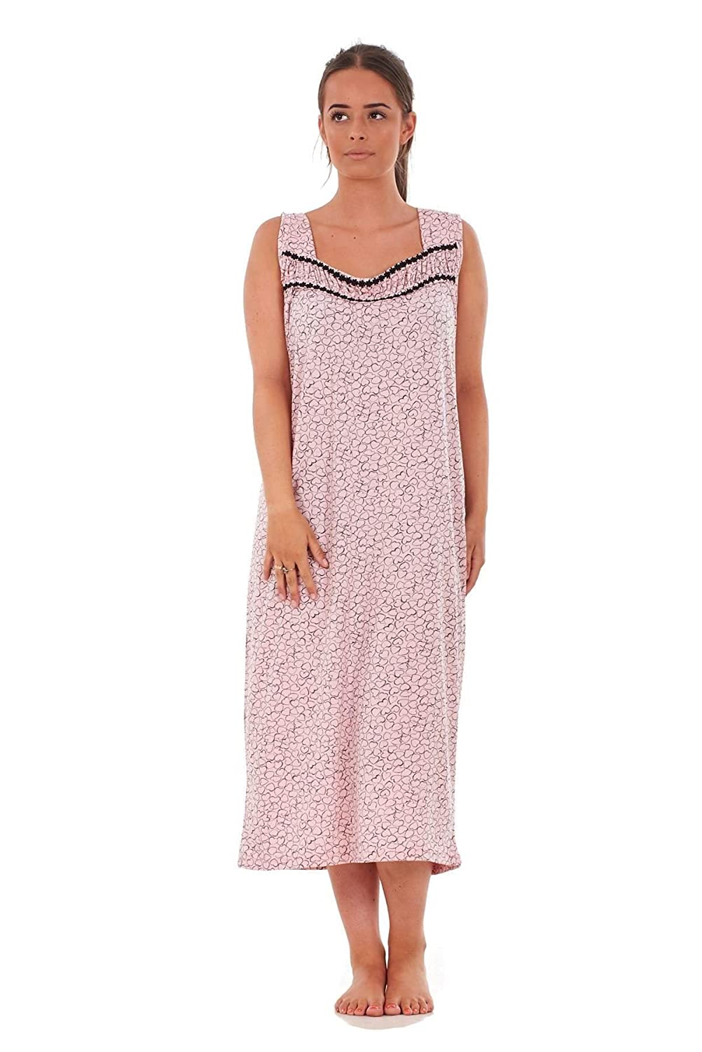 Bay eCom UK Ladies Nightwear Heart Polka Print 100% Cotton Sleeveless Long Nightdress M-XXXL Does not Apply