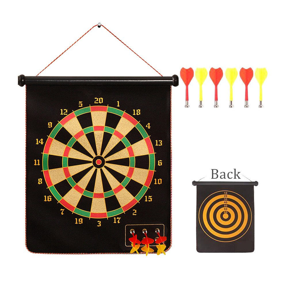 KICCOLY ✅Magnetic Dartboard Roll Up with 6 Magnet Darts Double Sided Kids Dart Board Game KICCOLY(EU) FLYD