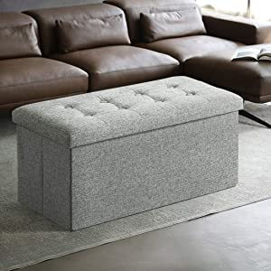 ASLIFE 30 Inches Folding Storage Ottoman Linen Fabric Bench Foot Rest Stool Chest with Foam Memory Padded Seat Tufted, Holds Up to 350lb, Light Grey