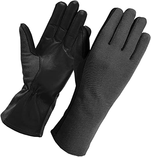 BLACK NOMEX FLIGHT PILOT FIRE RESISTANT TACTICAL LEATHER GLOVES ALL SIZES