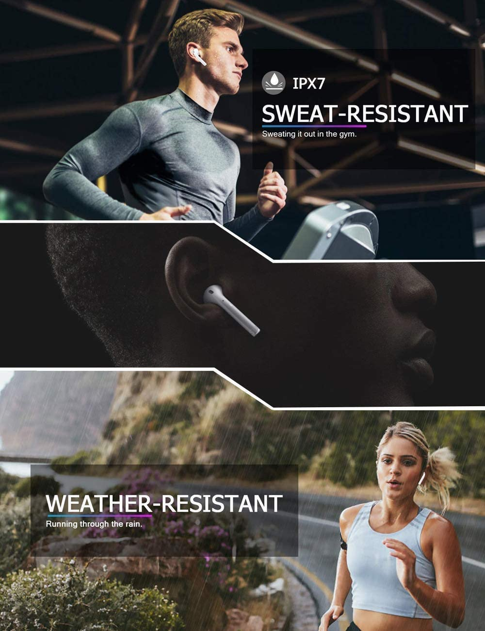 Bluetooth Headsets 5.0 Wireless Earbuds,IPX7 Waterproof,Noise Canceling Sports Headset,,Pop-ups Auto Pairing,Charging case in-Ear HD Mic Headphones,for Apple Airpods pro//Android//iPhone//Samsung